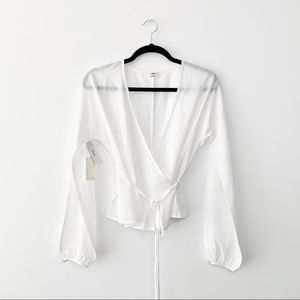 WILFRED | NWT Lilia Long Sleeve Wrap Blouse White